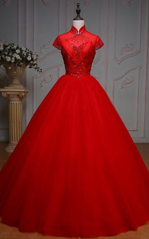 Long Tulle Lace-Up High-Neck Bell Pleats Cap Jeweled Ball Gown