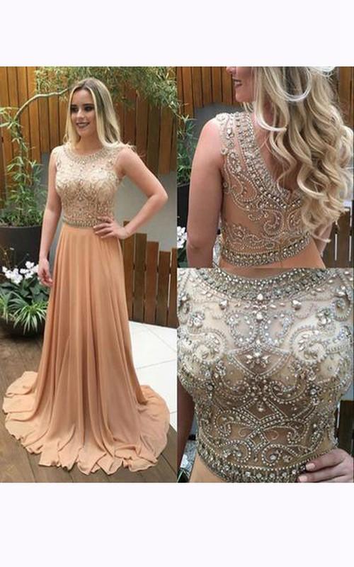 A-line Sleevelss Beaded Bodice Chiffon Dress