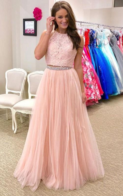 Halter Lace Tulle Sleeveless Floor-length Appliques Beading Pleats Dress