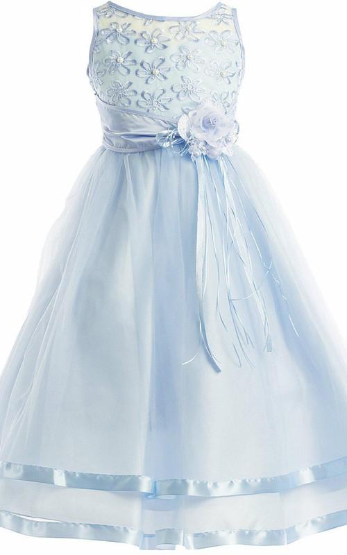 Appliqued Flower A-Line Sleeveless Dress