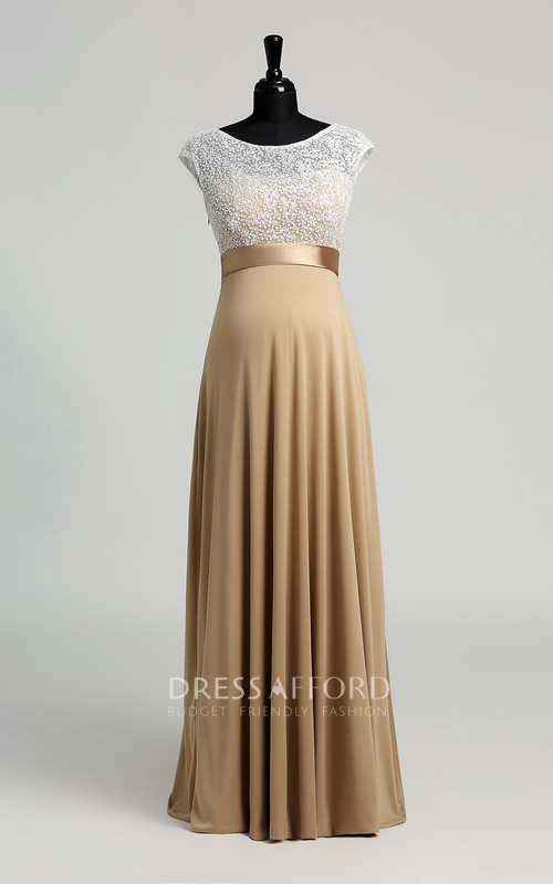 A-line Jersey Lace Bateau Floor-length Short Sleeve Lace Maternity Dress with Sash/Ribbon