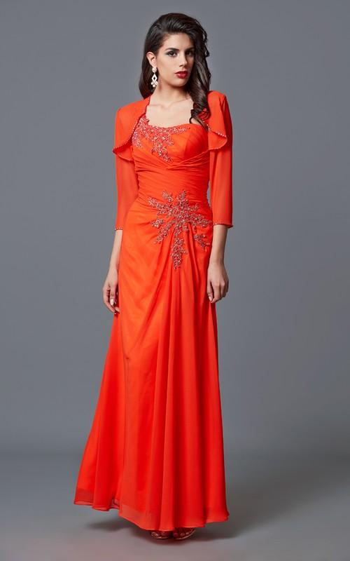 Chiffon Chiffon Jacket Floor-Length One-Sided Elegant Formal Dress