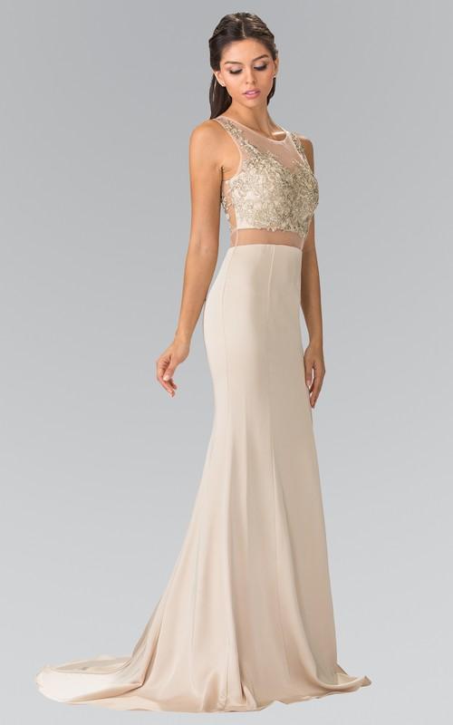 Column Jeweled Full-Length V-Neck Jersey Sleeveless Illusion Dress