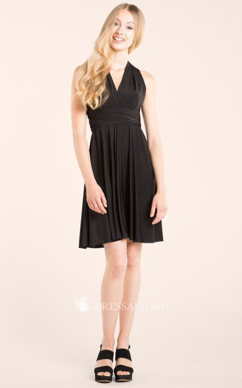 Haltered Sleeveless short Chiffon Bridesmaid Dress With bow