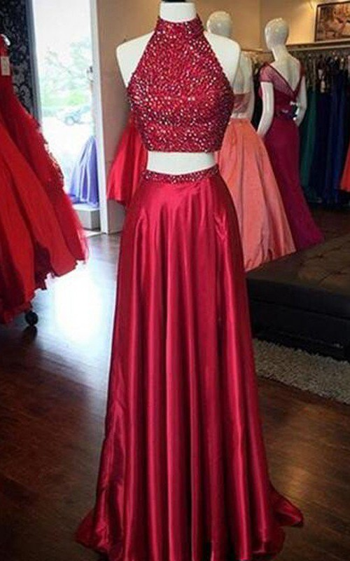 High Neck Satin Sequins Sleeveless Floor-length Beading Pleats Dress