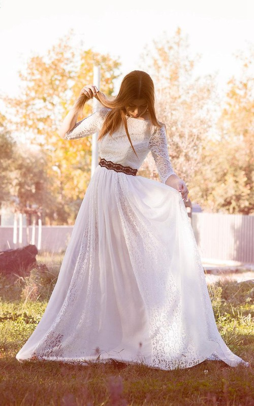 Bateau-neck Long Sleeve Lace Wedding Dress With Pleats And bow