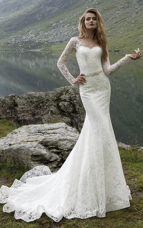 V-Back Crystal Floor-Length Long-Sleeve Sheath Gown