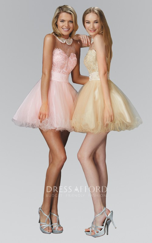 A-Line Ruffled Jeweled Mini Scoop-Neck Tulle Sleeveless Dress