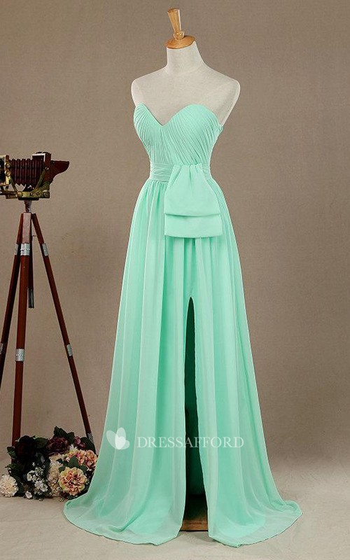 Sweetheart Chiffon Front-split Ruched Bridesmaid Dress With Sweep Train