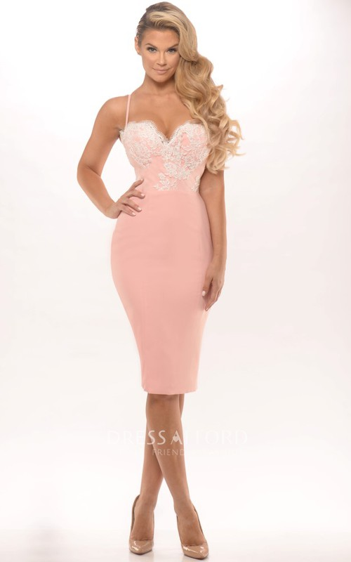 Pencil Knee-length Spaghetti Dress With Appliques And Illusion