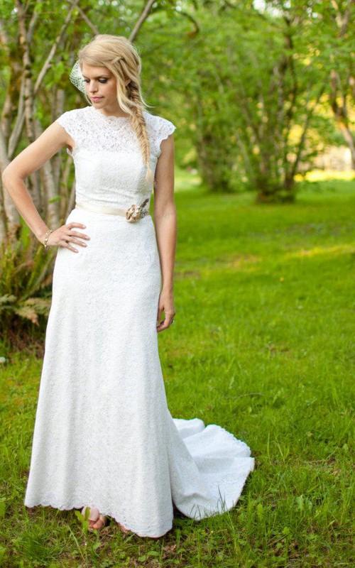 Illusion-Neckline Beaded Waist Wedding High Floor-Length Lace Gown