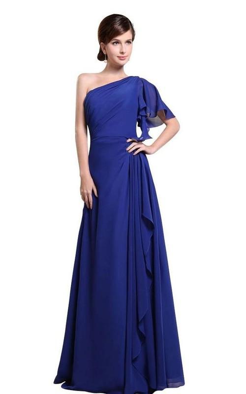 One-shoulder Drapped Sleeve Long Layered Chiffon Dress