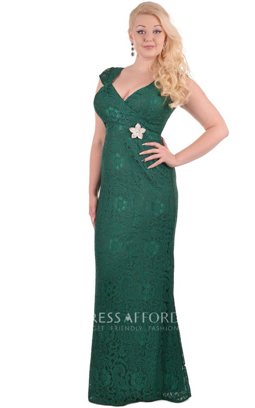 Short-Sleeve Pleated Zipper Floor-Length Sheath Beaded Lace Dress