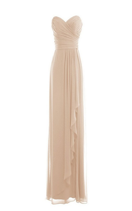 Long Ruched Layered Sleeveless Sweetheart Chiffon Floor-Length Gown