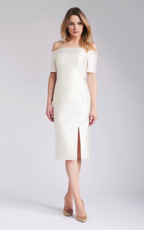 Wedding Slit Front Midi Off-Shoulder Dress