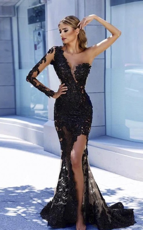 Sexy One Shoulder Front Split Mermaid Gown With Lace Appliques
