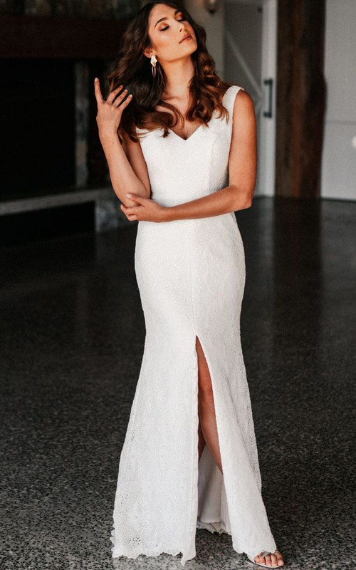 Sexy V-neck Mermaid Lace Floor-length Low-V Back Wedding Dress with Split Front