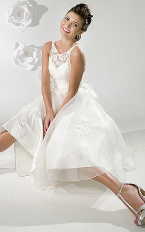 V-neck Sleeveless A-line Tea-length Dress With Appliques And bow