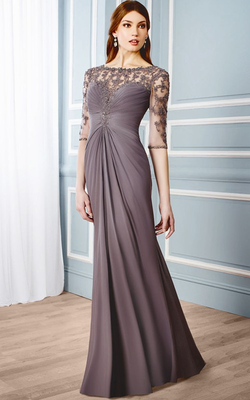 Bateau-Neckline Formal Floor-Length Column Chiffon Dress