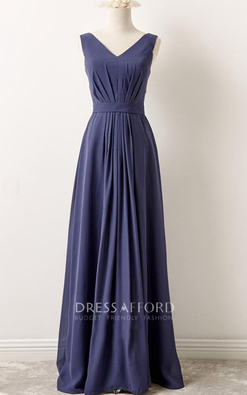 A-Line V-Neck Chiffon Dress With Pleats