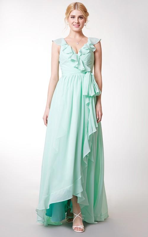 Ruffled Satin Ribbon Chiffon Asymmetric Cap-Sleeved Long Dress