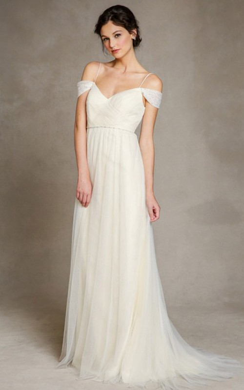 Spaghetti-strap Off-the-shoulder Tulle Floor-length Dress With Deep-V Back