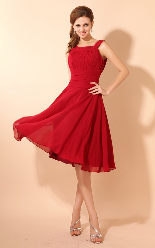 Bateau-Neckline Draping Flowy-Fabric Soft Midi Dress