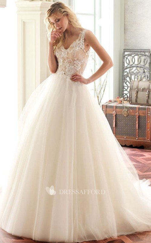 Plunged Sleeveless Ball Gown With floral Applique And Illusion back