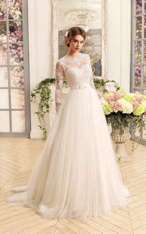 Illusion-Sleeve Appliqued Pleats Floor-Length A-Line Tulle Gown