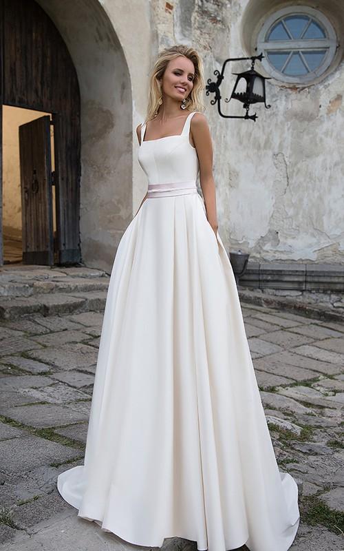 Simple Satin A-line Sleeveless Wedding Dress with Sash