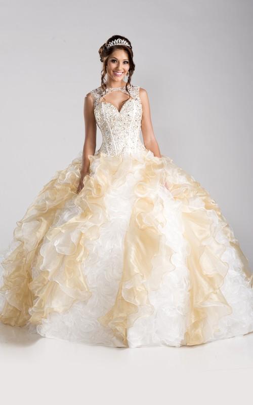 Sleeveless Lace-Up Back Cascading Ruffled Keyhole Ball Gown