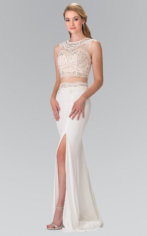 2-Piece Jeweled Split Front Column Scoop-Neck Jersey Sleeveless Illusion Dress