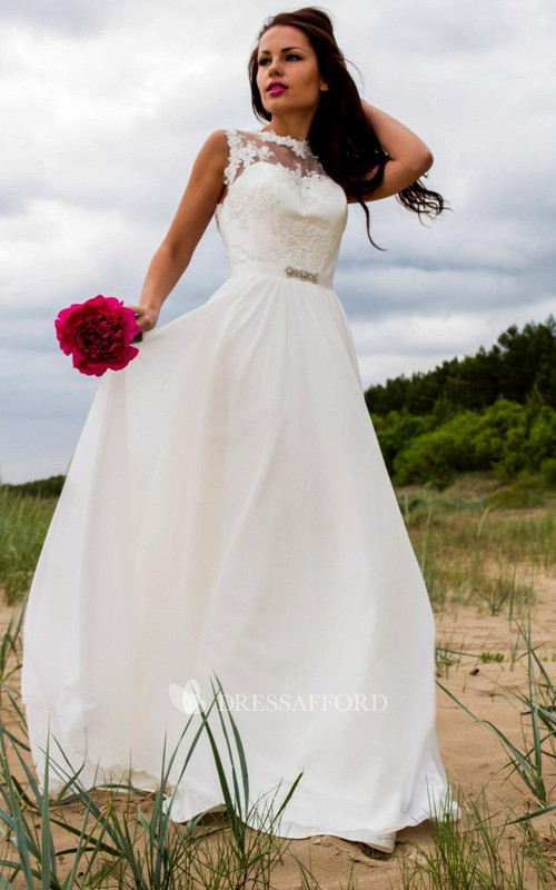 Jewel-Neck Sleeveless Chiffon Wedding Dress With Appliques And Keyhole