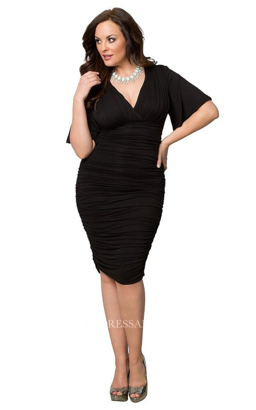Plunged Chiffon Half Sleeve Ruched Pencil plus size Dress