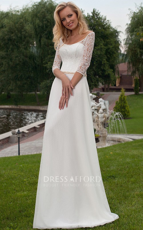 Lace Half Sleeve A-line Wedding Dress With Illusion back