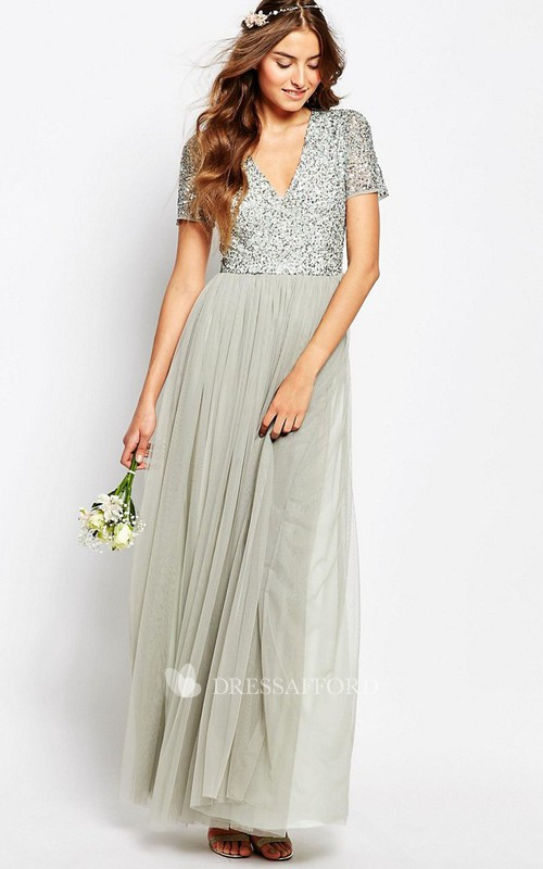 A-Line V-Neck Floor-Length Beaded Short-Sleeve Bridesmaid Dress With Pleats