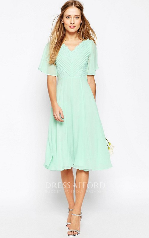 V-neck Poet-sleeve Chiffon Knee-length Dress With Ruching And Lace