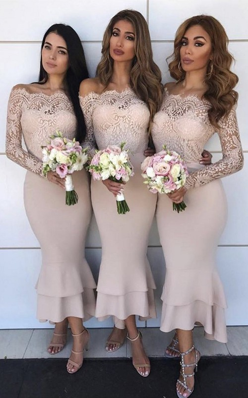 Scalloped Off-the-shoulder Satin Lace Long Sleeve Ankle-length Mermaid Bridesmaid Dress