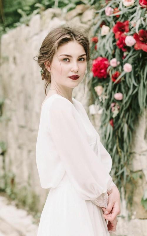 Jewel Chiffon Illusion Long Sleeve Wedding Gown