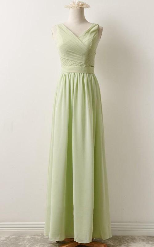 casual V-neck Floor-length Sleeveless Bridesmaid Dress With Zipper