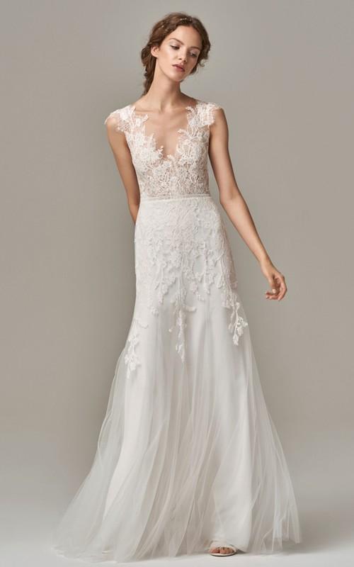 Elegant Sleeveless Sheath Lace Tulle V-neck Wedding Dress with Appliques and V Back