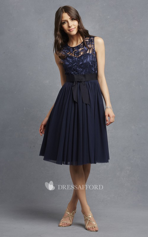 Sleeveless Appliqued Top Exquisite A-Line Dress