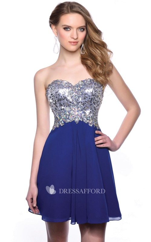 A-Line Chiffon Sweetheart Short Homecoming Dress With Beaded Corset