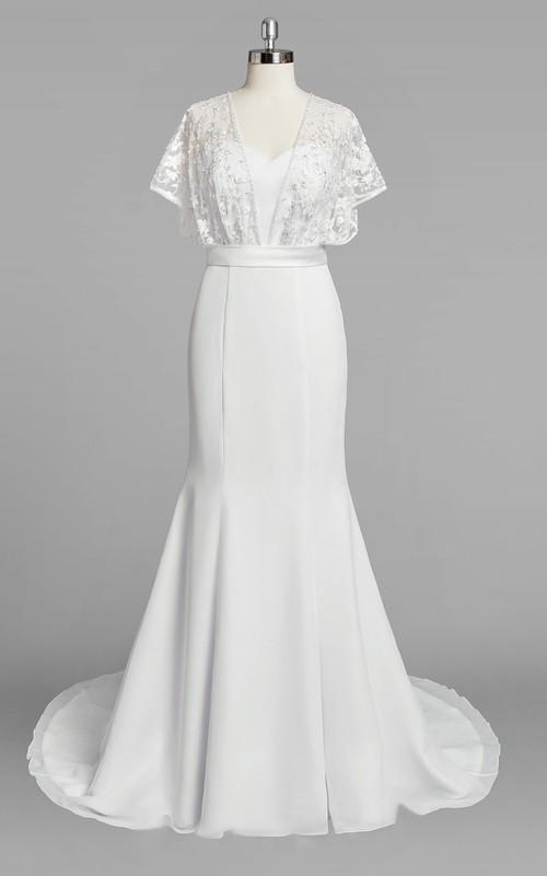 Bridal Lace Cape Satin Ribbon Trumpet Chiffon Dress