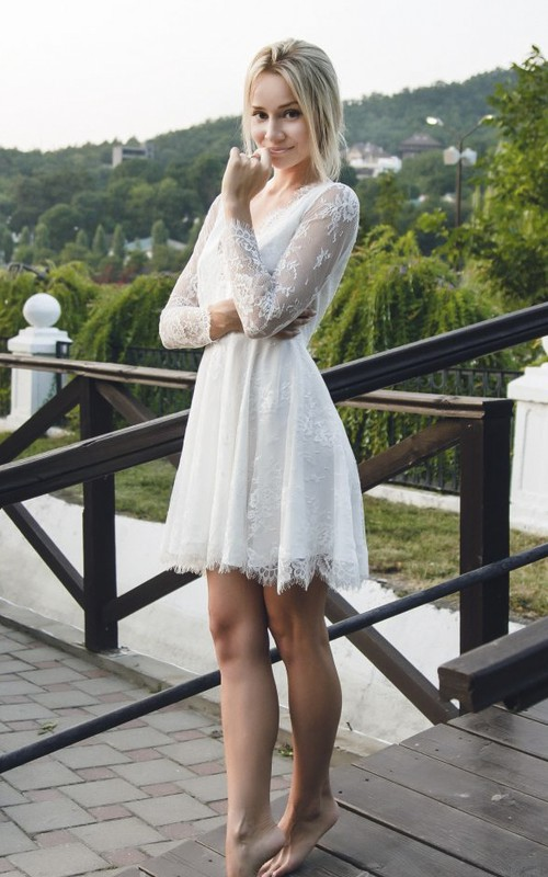 Short Sexy Lace Wedding Dress With Long Sleeve And Deep V-neck