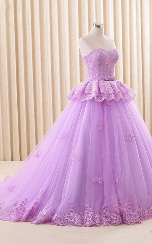 A-Line Satin Lace Full-Length Sweetheart Corset Sweep-Train Tulle Dress
