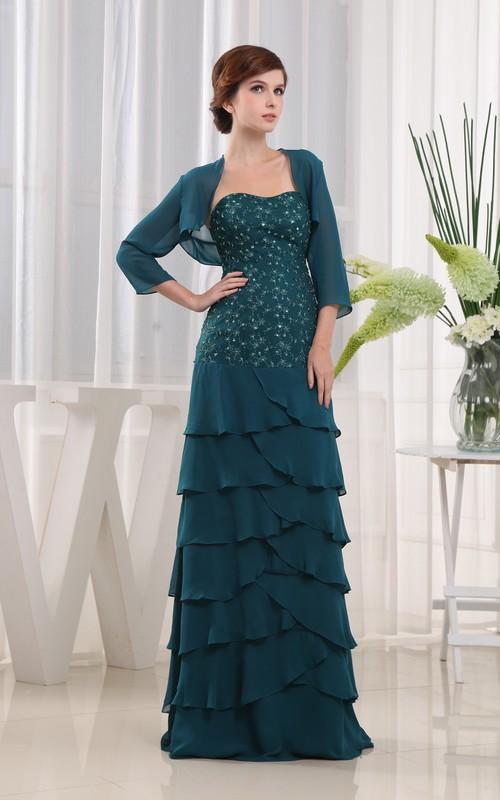 Beaded Palatine Design Long Strapless Dress