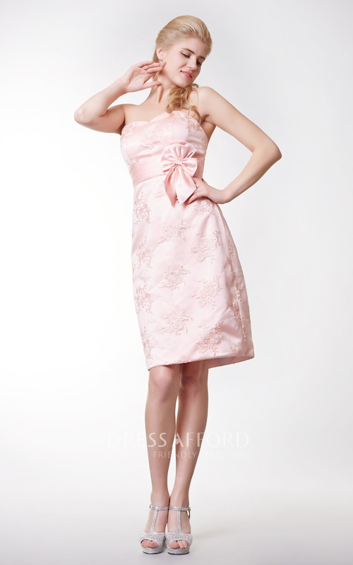 Short Lace Appliqued Column Simple-Inspire Dress