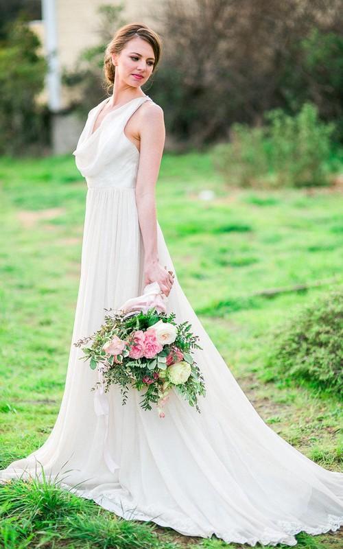 Long Pleated Cowl-Neckline Boho Chiffon Dress
