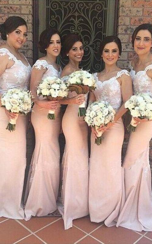 Elegant Off-shoulder Mermaid Bridesmaid Dress Floor-length With Lace Appliques
